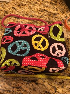 Quilted peace sign bag 14 across, 12 y all (without strap). Good condition