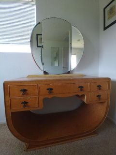 Antique Vanity, Art Deco style, birds eye maple