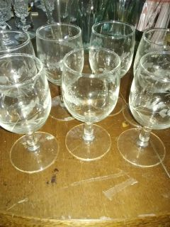 Beautifully etched wine glasses