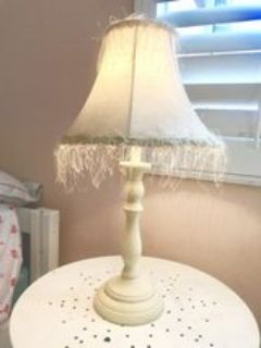 Shabby chic soft pink and cream table lamp