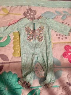Green mint with flower print sleeper and butterfly