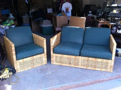 Wicker porch set, two chairs, etc.