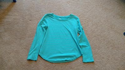 So green with silver stripes top size 16