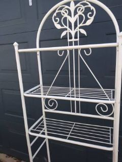 White Wrought Iron shelve unit