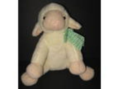 Animal Adventure Cream Lamb Tan Feet Face Green Check Bow