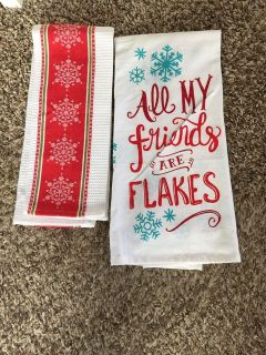 2 New Kitchen Christmas Towels