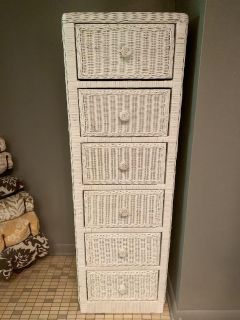 EC White wicker/rattan 6 drawer tall chest only $80