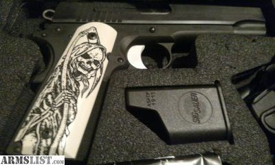 For Sale: Sig Sauer 1911, scary grip, holster, mag loader, 5 mags, 100rds ammo