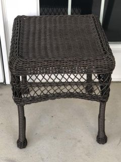 Brown wicker end table