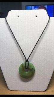 Green polished Agate stone necklace