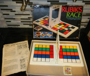 1982 RUBIK'S RACE Table Top Mind Speed Race Game COMPLETE