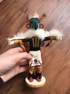 Incredible signed & dated handmade wooden Native American Eagle