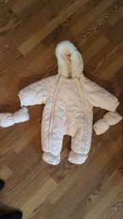 very warm light pink bunting suit. 3-9m