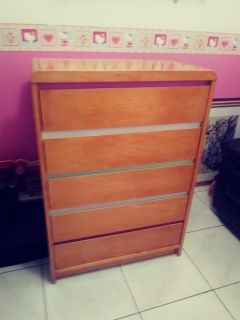 Solid Wood Maple Colored Wood 5 Drawer Chest