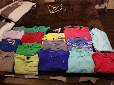 shirts between Large and X-Tra large different brands Hilfiger, chaps, Columbia, Sonoma, and Polo.