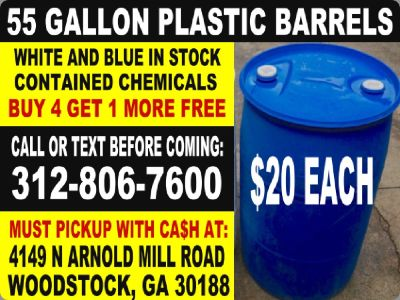$20 atlanta georgia plastic water barrel drum barrels drums poly rain feed storage
