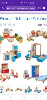 ISO Wooden Doll House Furniture & Figures (in photo)