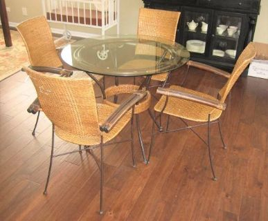 """RATTAN and WROUGHT IRON TABLE and 4 CHAIRS - 36"""" GLASS TOP"""