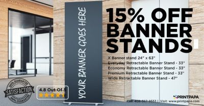 Avail 15% Off on Retractable Banner Stand from PrintPapa