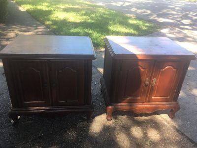 Set of matching end tables, solid wood