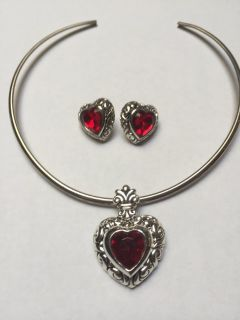 Red Heart/Purple Necklace Charm & Earrings Set (price each)