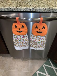 2 Pumpkin and candy kitchen towels