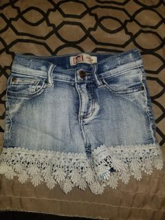 Blue Jean shorts with lace trim