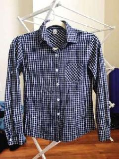 Gingham shirt, worn twice, XS