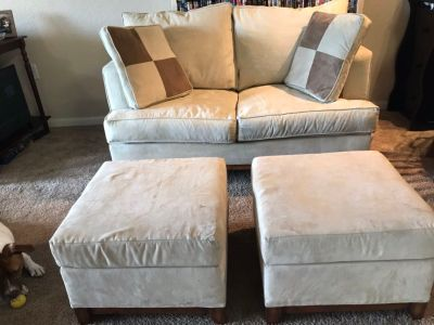 Couch with storage ottoman