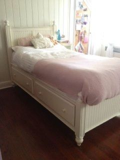 COTTAGE WHITE PANEL TWIN BED w/2 DRAWERS