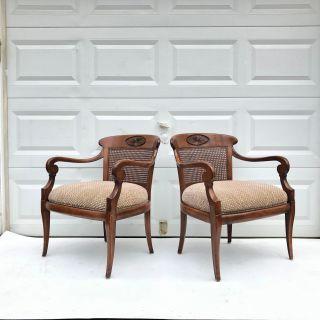 Pair Modern Cane Back Arm Chairs