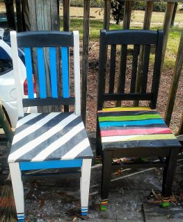 2 hand painted chalkboard chairs