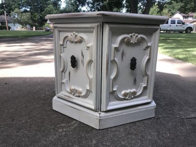 Solid wood side table with storage