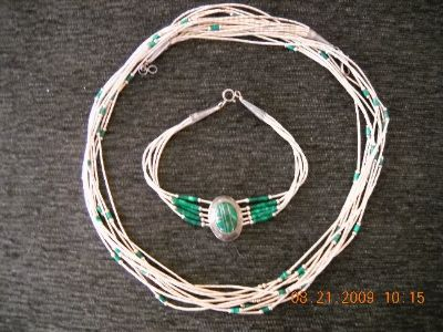 Sterling Silver & Malachite Necklace & Wrist Band Vintage