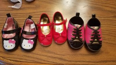 3 pair baby girl crib shoes 6-9 months