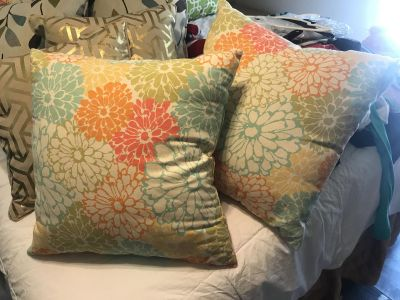 Set of two bright tropical pillows. Average sized $5