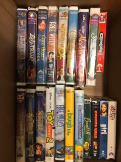 Box of dvd and vhs movies