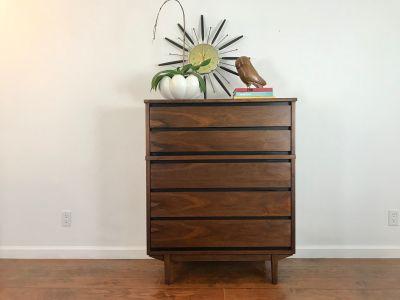 MID CENTURY MODERN 5 Drawer Highboy Dresser