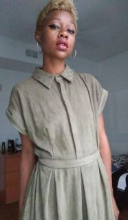 Olive Green Faux Suede Dress