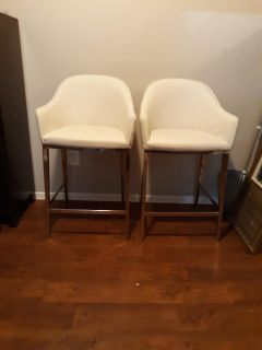 Sunpan white leather and metal modern barstools