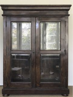 Custom Teak Armoire from Thailand with Glass Doors