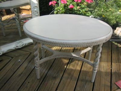 GREY TONE VINTAGE SHABBY CHIC OVAL TABLE
