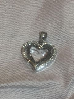 Black and White Crystal heart pendant