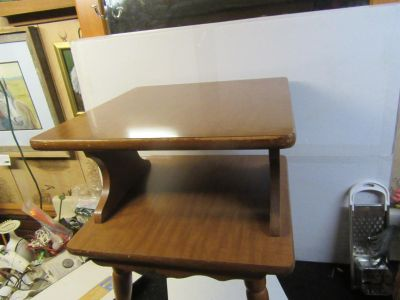 """old square 2 tier wood table some wear not to bad 17 1/2 x 17 1/2 x 25""""tall"""
