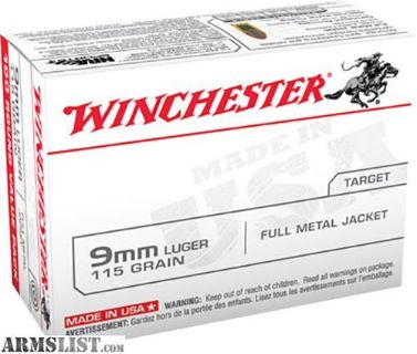 For Sale: Winchester Ammo USA9MMVP Best Value 9mm Luger 115 GR Full Metal Jacket 100 rounds-flat rate shipping $14.95 unlimited boxes