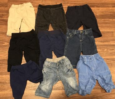 9 pairs of 0-3 month pants