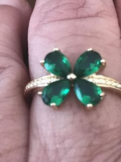 One of a kind Four leaf clover sterling silver ring size 6