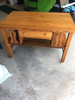 Antique library table and king box springs