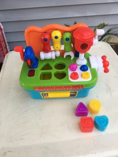 """NEVER USED - """"TOOL SET & SHAPE SORTER""""VISE, DRILL, SAW, SCREWS, NAILS, HAMMER, WRENCH, SCREWDRIVER, 4 SHAPES, RULER, OPENING DRAWER"""