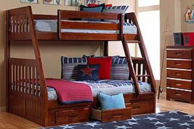 $600, New twinfull wood bunk bed with under chest